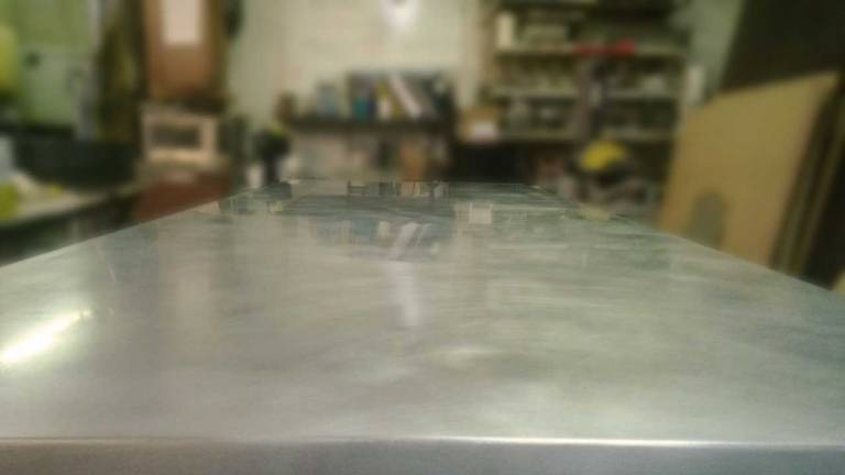 Closeup of Zinc Countertop